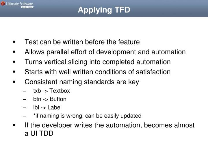 Applying TFD