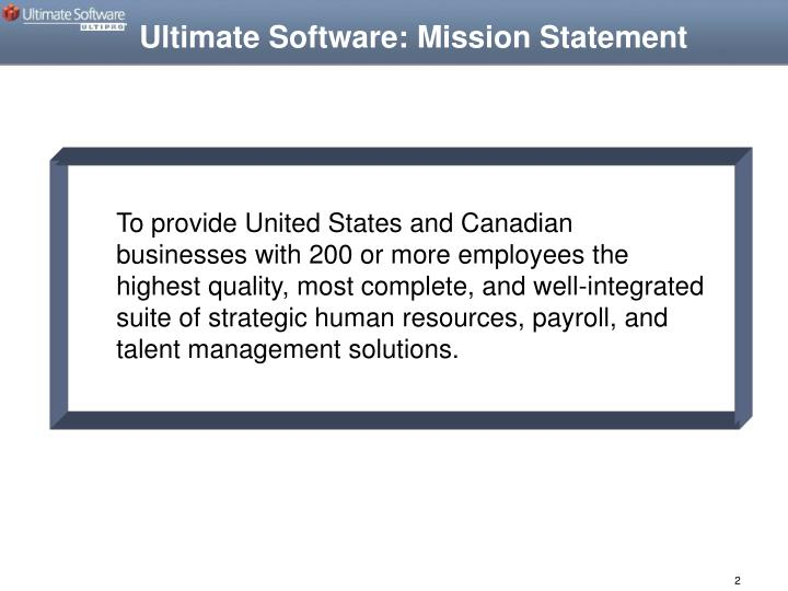 Ultimate Software: Mission Statement