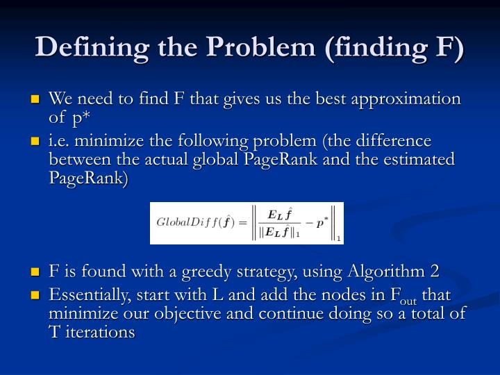 Defining the Problem (finding F)