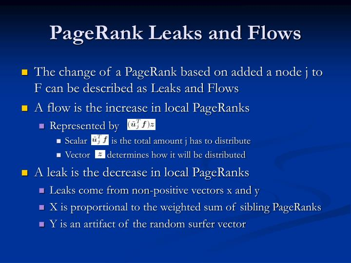 PageRank Leaks and Flows