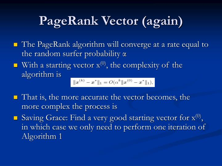 PageRank Vector (again)