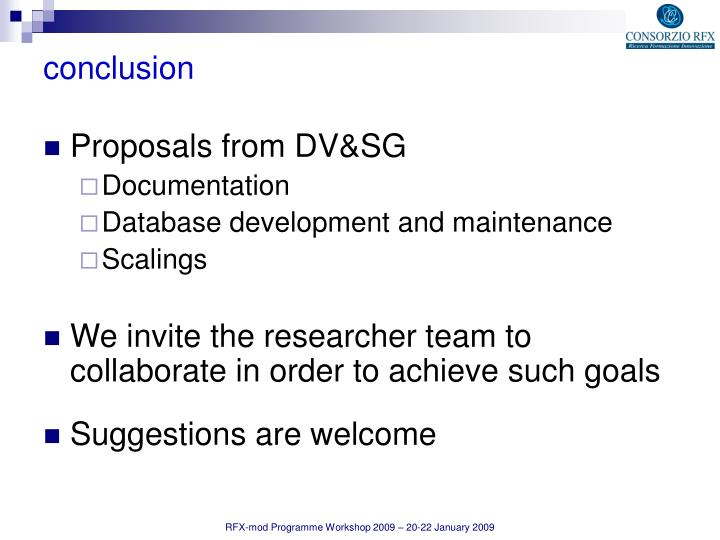 Proposals from DV&SG