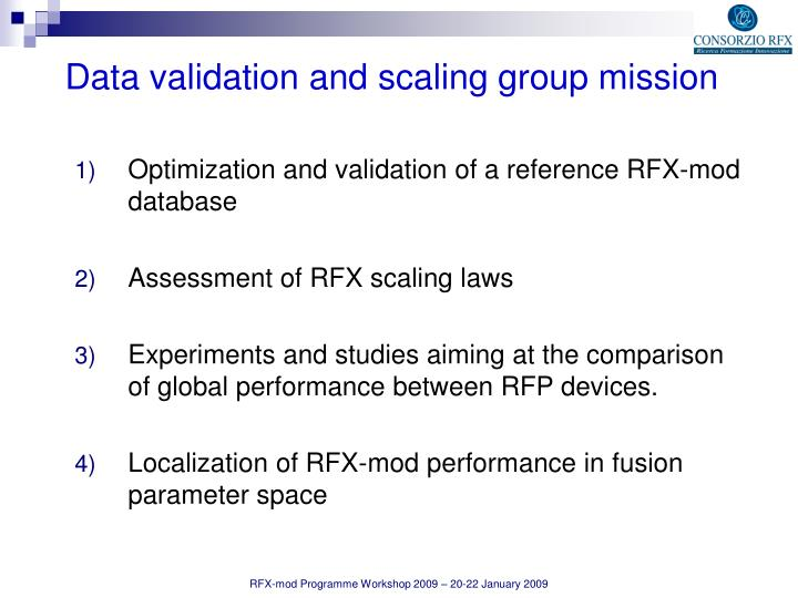 Optimization and validation of a reference RFX-mod database