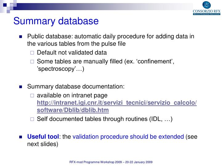 Public database: automatic daily procedure for adding data in the various tables from the pulse file