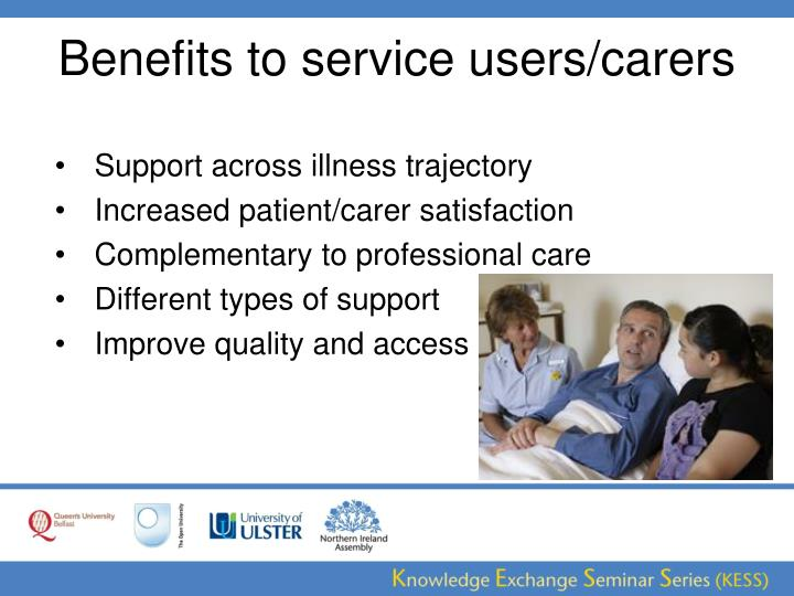Benefits to service users/carers