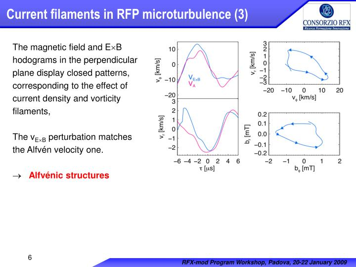 Current filaments in RFP microturbulence (3)
