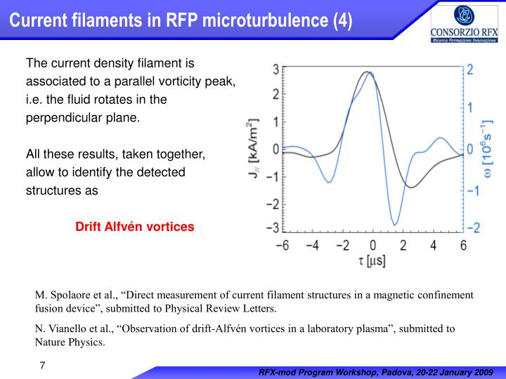 Current filaments in RFP microturbulence (4)
