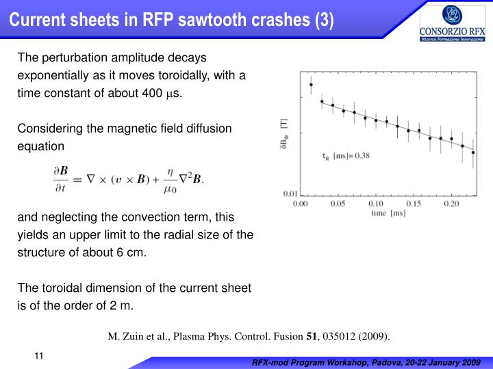 Current sheets in RFP sawtooth crashes (3)