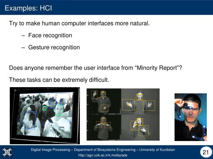 Examples: HCI