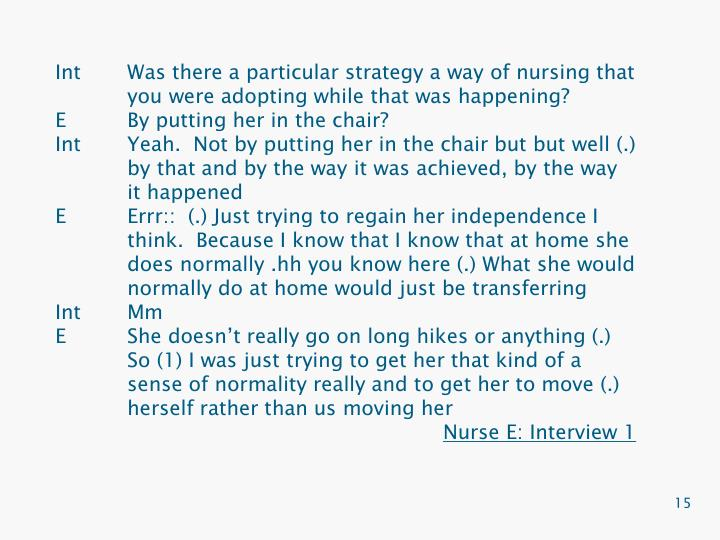 IntWas there a particular strategy a way of nursing that you were adopting while that was happening?