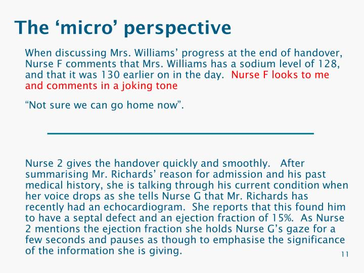 The 'micro' perspective