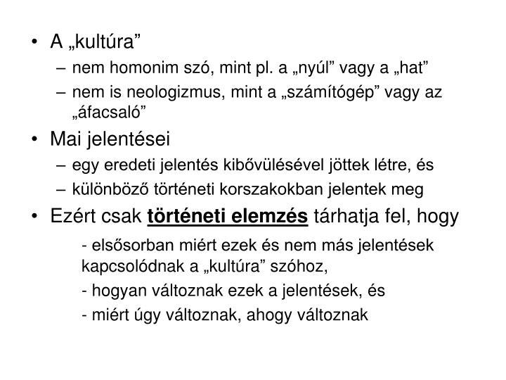 "A ""kultúra"""