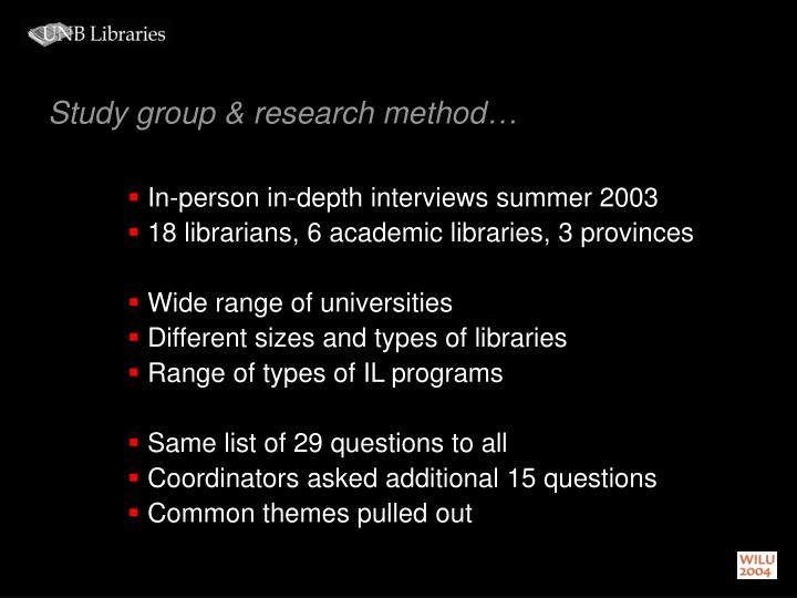 Study group & research method…