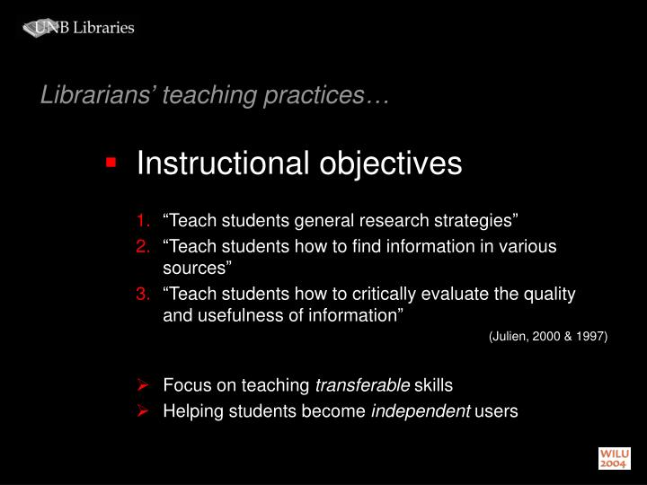 Librarians' teaching practices…