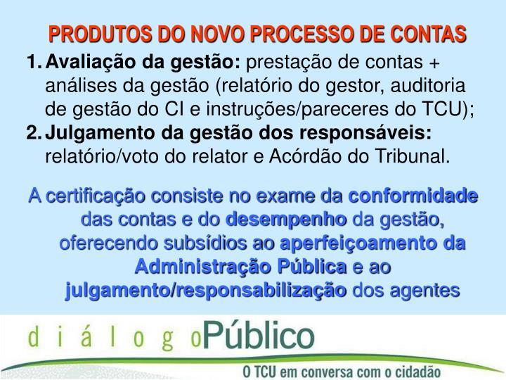 PRODUTOS DO NOVO PROCESSO DE CONTAS