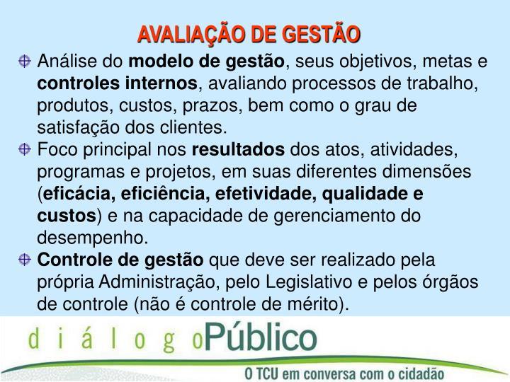 AVALIAÇÃO DE GESTÃO