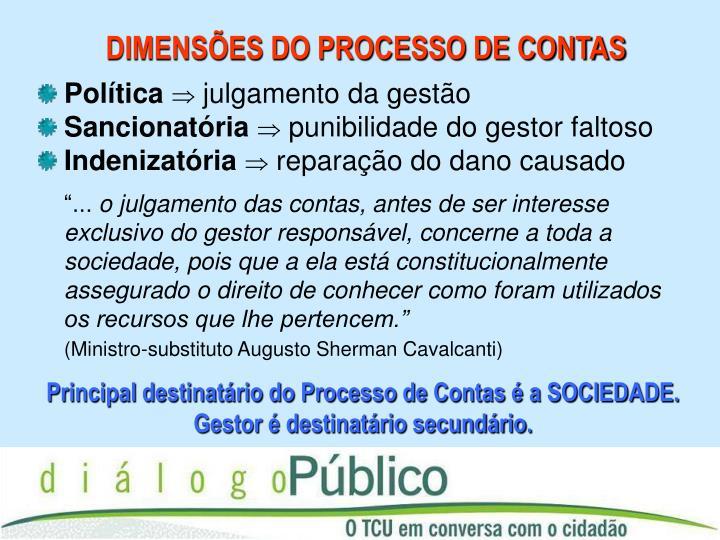 DIMENSÕES DO PROCESSO DE CONTAS