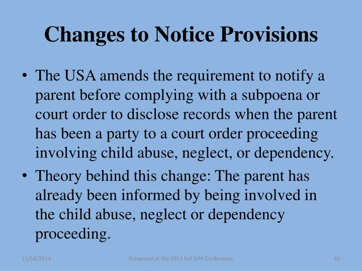 Changes to Notice Provisions