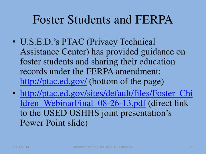 Foster Students and FERPA