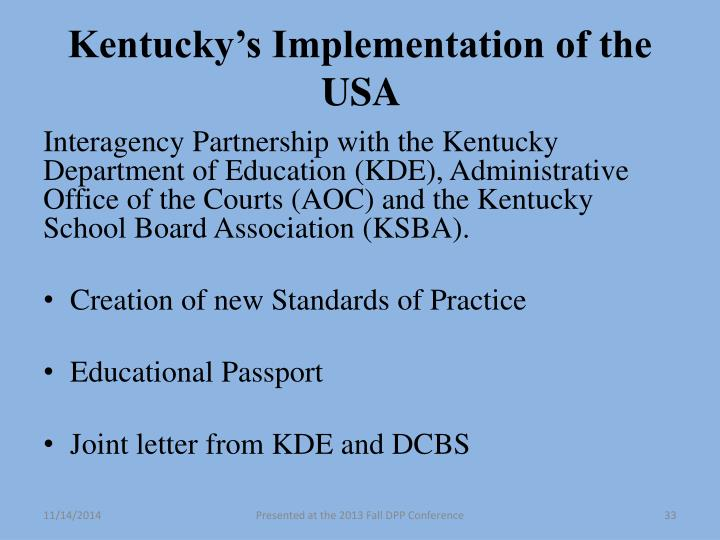 Kentucky's Implementation of the USA
