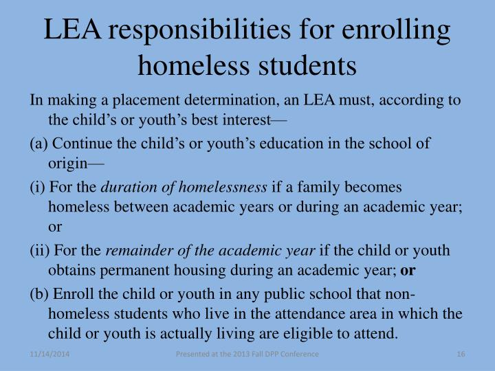 LEA responsibilities for enrolling homeless students
