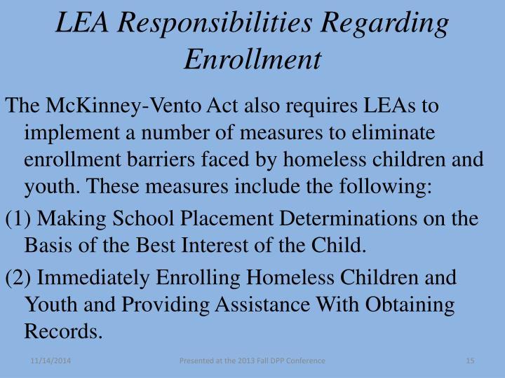 LEA Responsibilities Regarding
