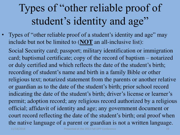 """Types of """"other reliable proof of student's identity and age"""""""