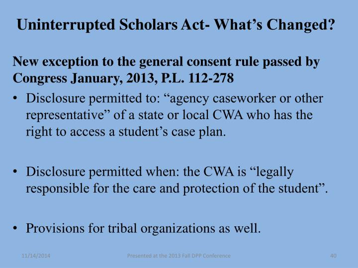 Uninterrupted Scholars Act- What's Changed?