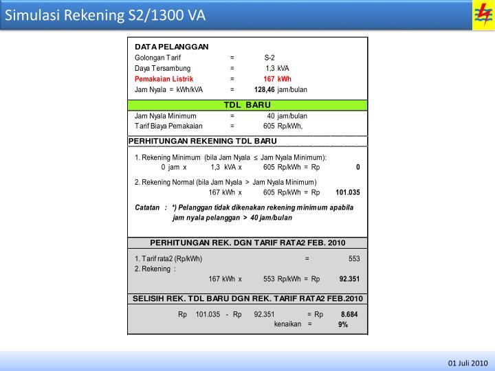Simulasi Rekening S2/1300 VA
