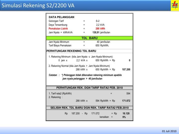 Simulasi Rekening S2/2200 VA