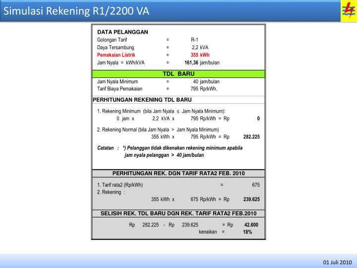 Simulasi Rekening R1/2200 VA