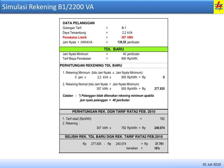 Simulasi Rekening B1/2200 VA