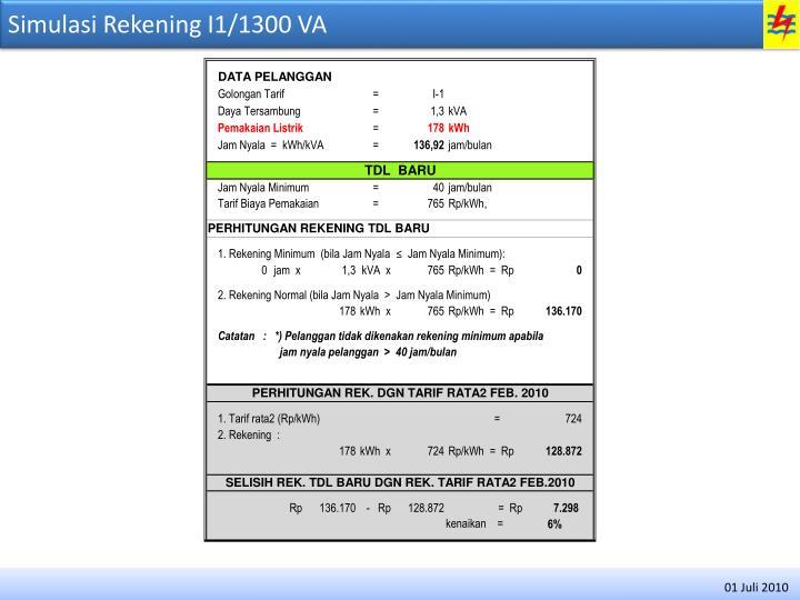 Simulasi Rekening I1/1300 VA