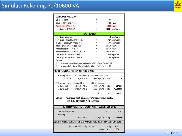 Simulasi Rekening P1/10600 VA