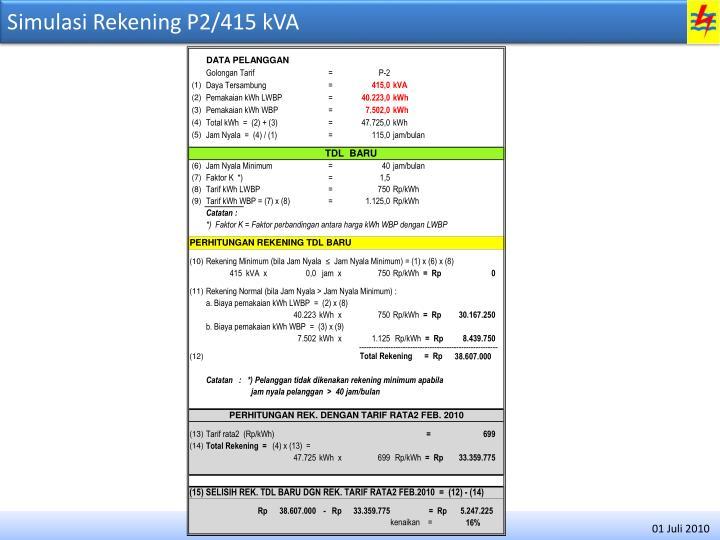 Simulasi Rekening P2/415 kVA