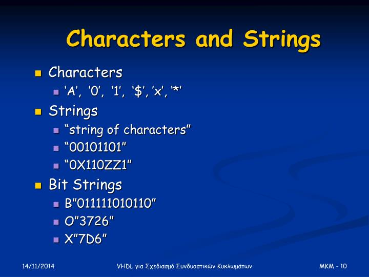 Characters and Strings