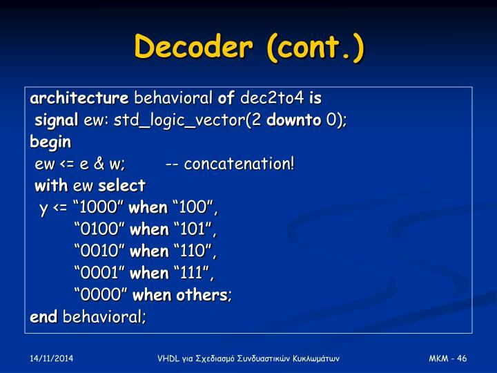 Decoder (cont.)