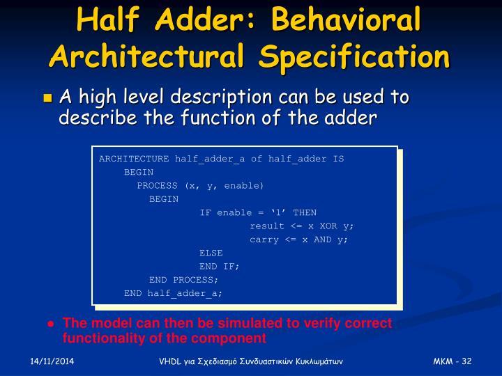 Half Adder: Behavioral Architectural Specification