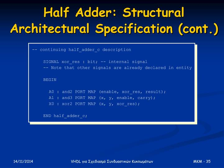 Half Adder: Structural Architectural Specification (cont.)