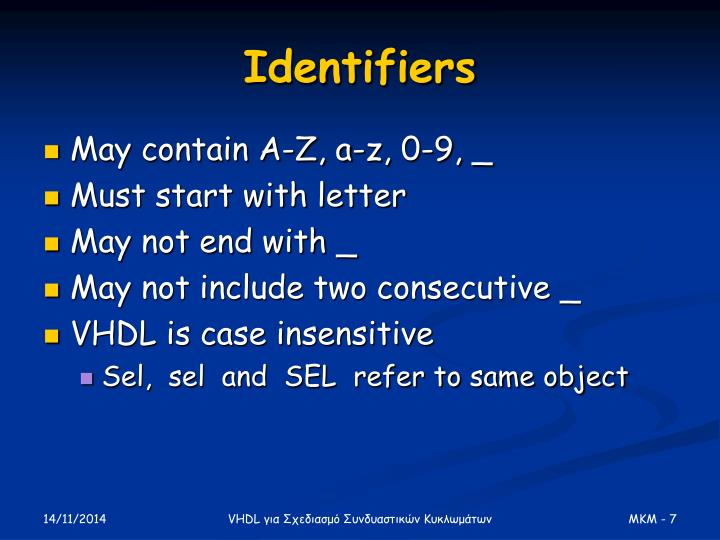 Identifiers
