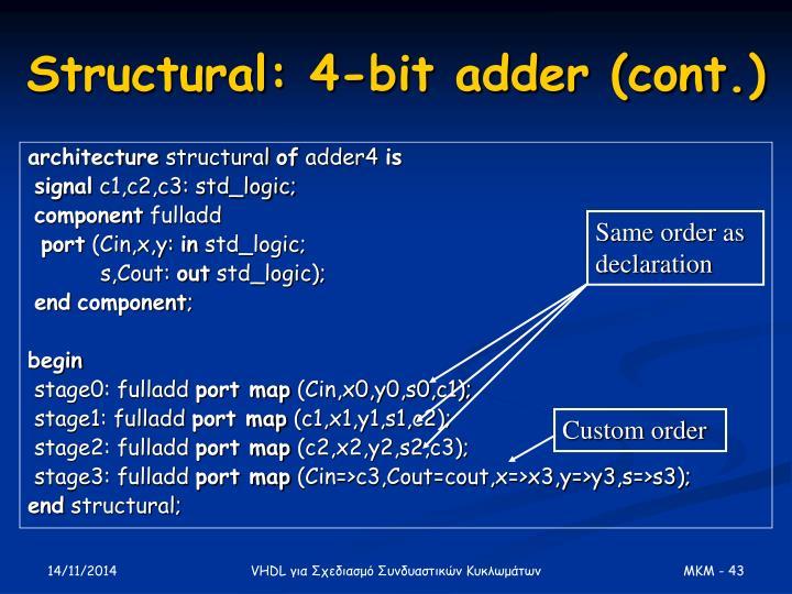 Structural: 4-bit adder (cont.)