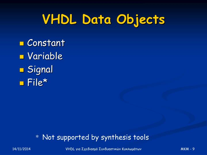 VHDL Data Objects