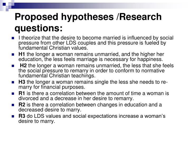 Proposed hypotheses /Research questions: