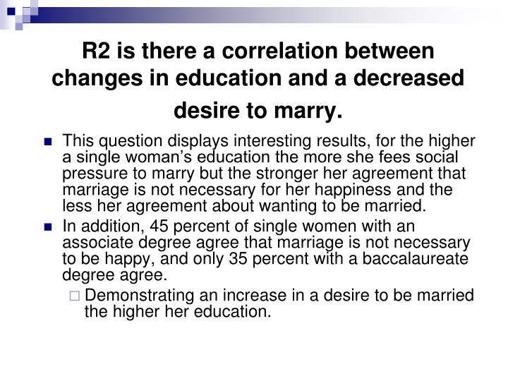 R2 is there a correlation between changes in education and a decreased desire to marry.