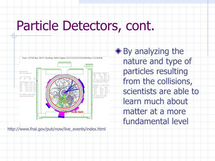 Particle Detectors, cont.
