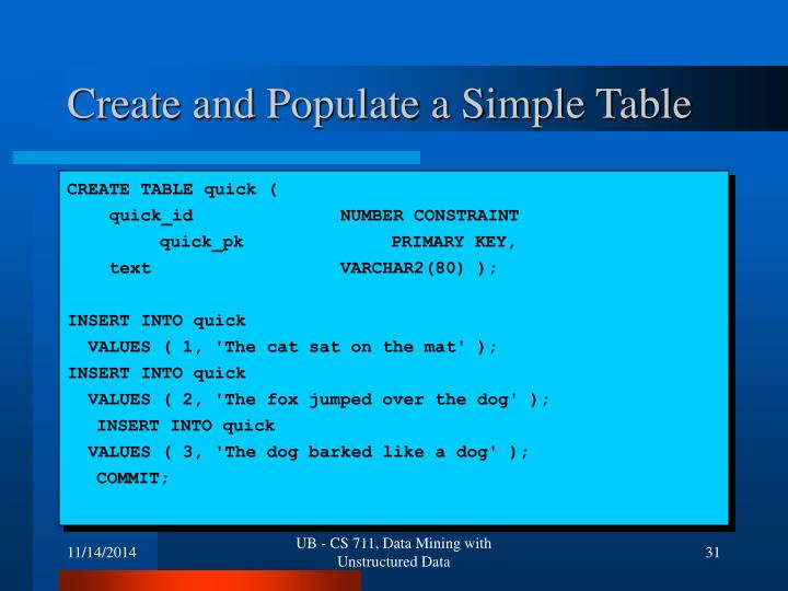 Create and Populate a Simple Table