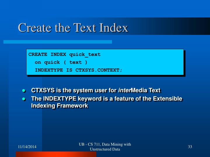 Create the Text Index