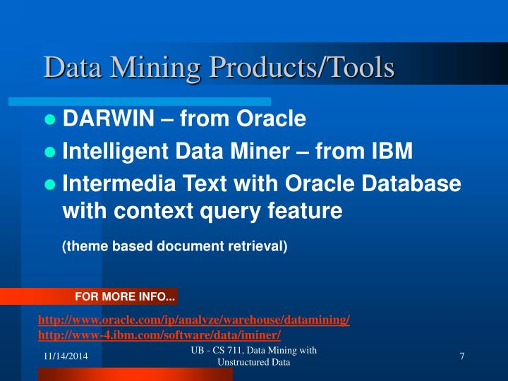 Data Mining Products/Tools
