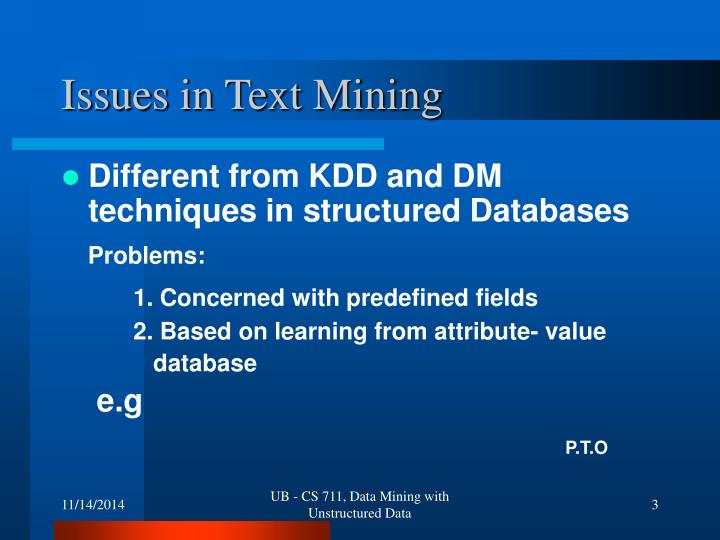 Issues in text mining
