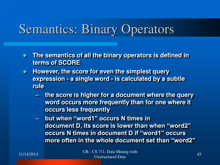 Semantics: Binary Operators